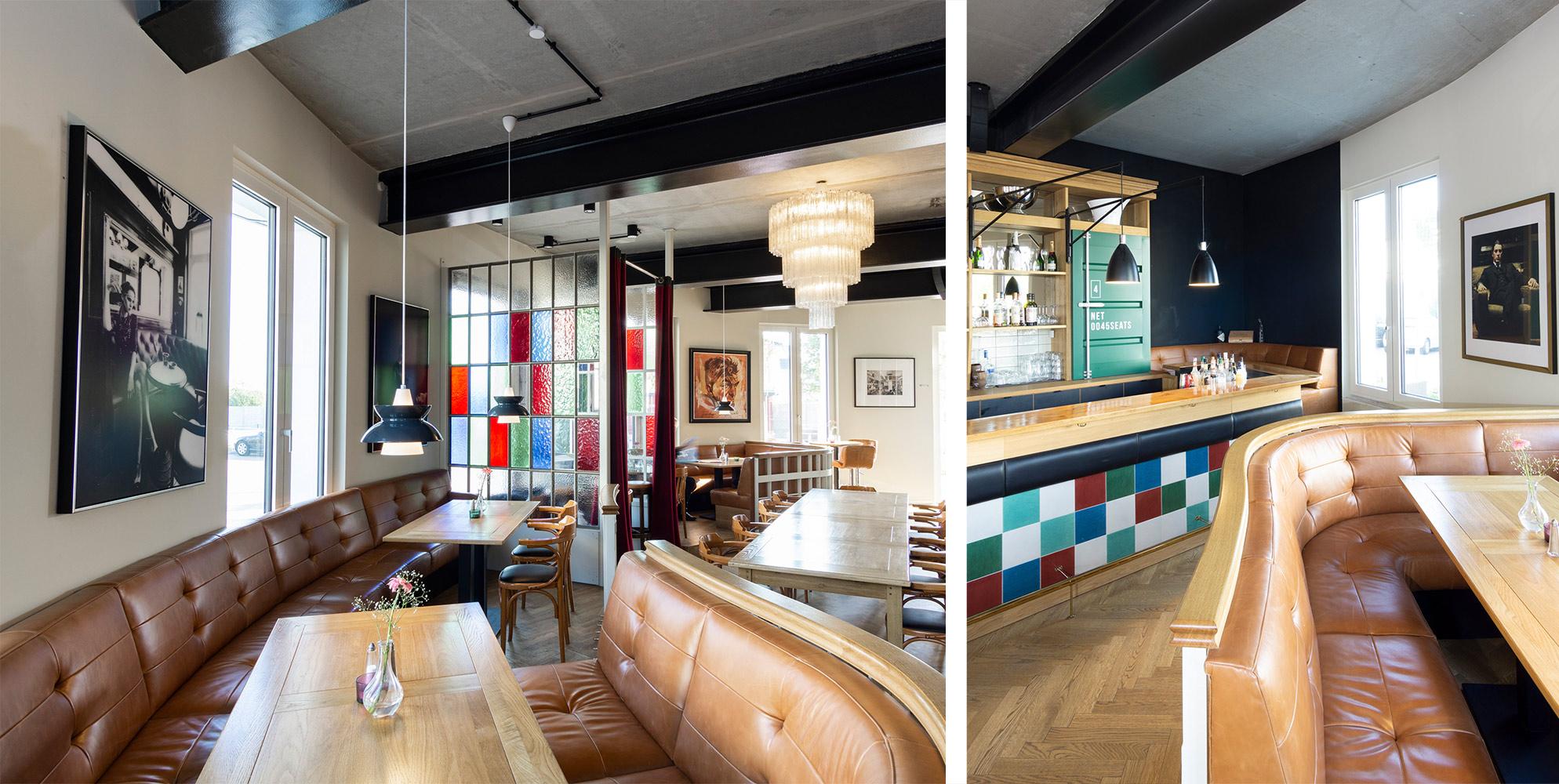 hhandwerkplusdesign hafendomizil in berlin, restaurant, interior, bar und tresen, gepolsterte bänke